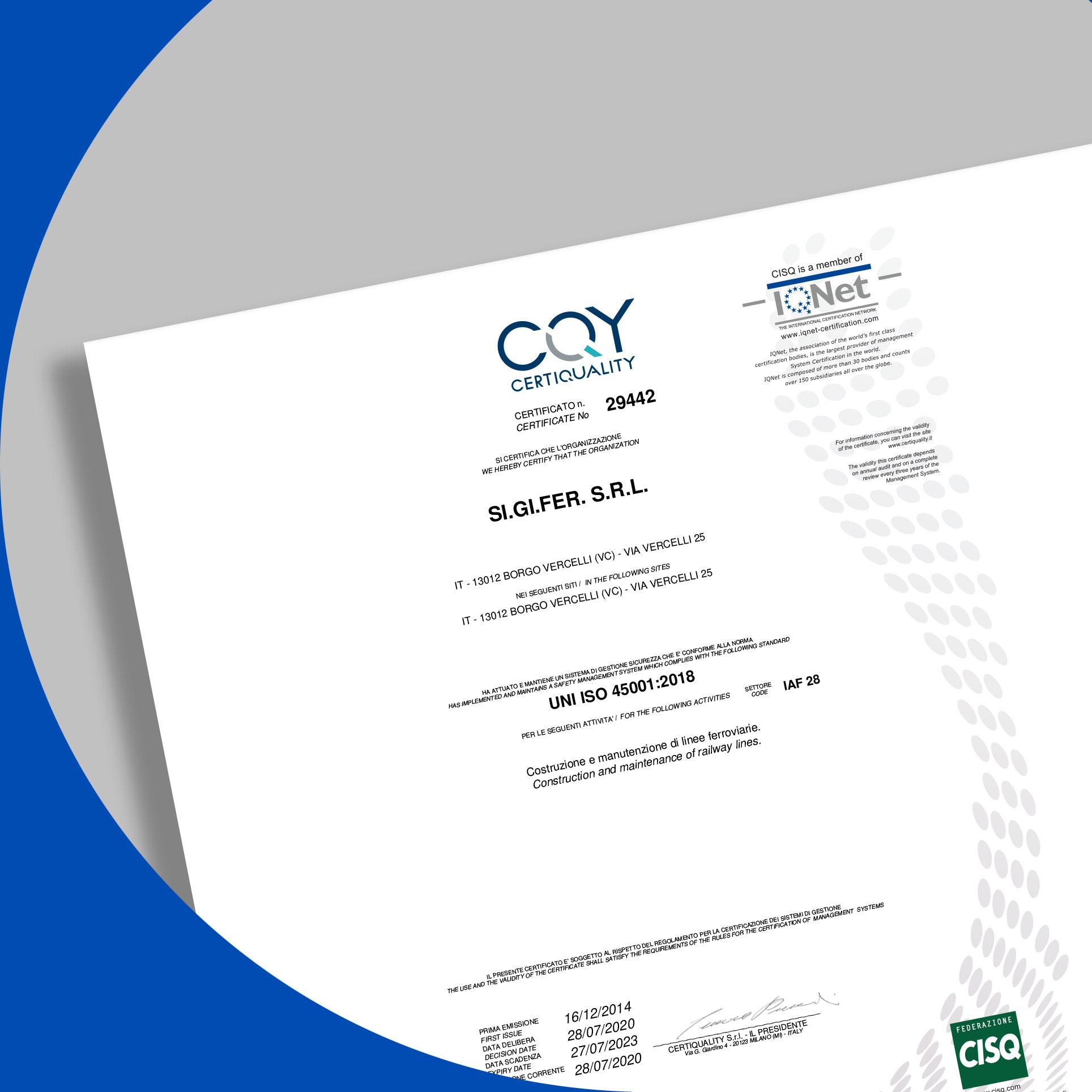 certificato sigifer sicurezza